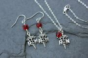 Love To Nurse Necklace + Earring Set- Sterling Silver Rn Caduceus Medical Charms