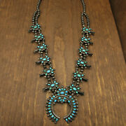 Exquisite Vintage Sterling Silver And Natural Turquoise Squash Blossom
