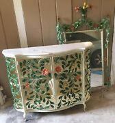 Vtg Antique Italian Toleware Flower Display Cabinet Marble Top And Mirror
