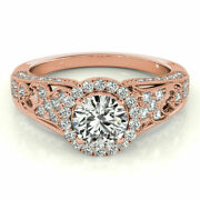 1.10 Ct Round Cut Real Diamond Engagement Ring 14k Solid Rose Gold Size 5 6 7 8