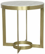 Noir Parker Metal And Quartz Side Table With Antique Brass Finish Gtab333mb