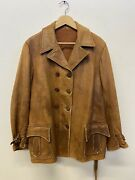Vtg 1920's Leather Car Coat Rare Aviator Jacket Brown Made In Usa 1930's Deco