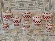 Splendid Set 8 Vintage French Red And White Enamel Kitchen Storage Canisters, Tins