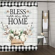 Farmhouse Shower Curtain Farm Cotton Flower On Country Rustic Gray Wooden