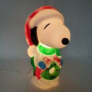 Snoopy Santa's Best Blow Mold With Christmas Wreath Peanuts Plus Light