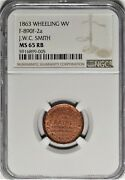 Wheeling West Virginia J W C Smith Civil War Store Card Wv 890f-2a Ngc Ms65rb