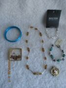 Vintage Fashion Jewelry Lot Of 11 8 Bracelets 2 Pins And 1 Necklace New Tag On 2