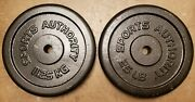 Pair Of 25lb Sports Authority Standard Size Barbell Weight Plates 50lbs Total