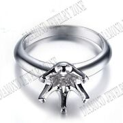 9mm Round Cut Solid 14k White Fine Jewelry Gold Prong Setting Engagement Ring