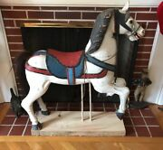 Beautiful Antique Hand Carved Carousel Horse W/ Custom Stand, Exc Original Cond