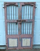 Antique Pair Wood And Cast Iron Favela Alley Doors From India Exc Perfect Patina