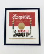 Vintage Campbell Soup Logo Can Detailed Handmade Needlepoint Framed 1985 Bh 7x7