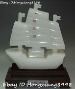 10 Chinese Natural White Jade Fengshui Carving Water Ship Boat Sail Statue