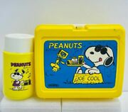 Very Rare 1971 Snoopy Joe Cool Peanuts Lunchbox W/ Thermos