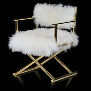 Ab Home 21.5d X 24w X 32h Directors Chair In Gold/white Kif39513-gold