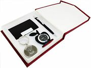 Christmas 4 In 1 Gift Set, Table Clock, Metal Keychain, Card Holder, Crystal Pen