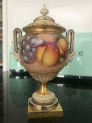 Royal Worcester Hand Painted Fruit Pedestal Vase - Signed And In Good Condition