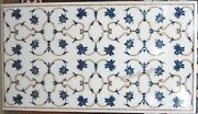 24 X 48 Inch Marble Kitchen Table Top Inlay Coffee Table With Lapis Lazuli Stone