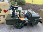Vintage 1960s Desert Patrol Jeep Battery Operated Tin Toy Japan Box