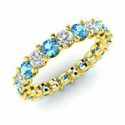 2.03 Ct Blue Topaz Natural Diamond Engagement Ring Round 14k Yellow Gold Size N