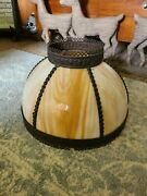 Vintage Spanish Style Stained Carmel Slag Glass Dome Lamp Shade W/ Metal Edges