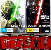 Star Wars Dvds 6x Movies- Original Trilogy And 3 More With Bonus Star Wars Cards