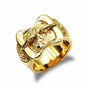 Mens Solid 9ct Yellow Gold Double Buckle Ring