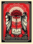 Shepard Fairey Knowledge + Action = Power Poster Print Obey Giant Signed
