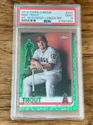 2019 Topps Chrome Mike Trout 200 Sitting In Dugout Green Refr 60/99 Psa 9 Mint