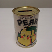 Rare Vintage Pear Can Bank Anniversary Greeting Smiley Face Fruit Coin Tin Bank
