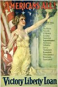 Original Vintage Poster Americans All Victory Liberty Loan War Wwi Usa Linen