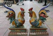 20 Chinese Cloisonne Enamel Gild Zodiac Year Rooster Cock Chicken Statue Pair