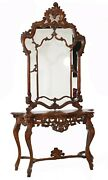 Italian Console Table Mirror Set Carved 1920