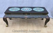 Chinese Lacquer Coffee Table - Cloisonne Porcelain Plaques