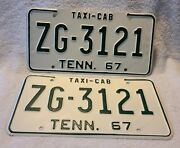 Vintage 1967 Tennessee License Plate Pair Taxi Cab Zg3121