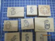 9 House Mouse Wood Mounted Rubber Stamps- Muzzy-amanda-mud Pie-maxwell-monica