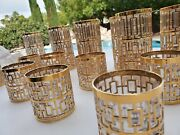 Imperial Glass Wear 8high + 8low Gold Mid Century Stunner
