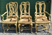 Set Of 6 Baker Furniture Provential Louis Xv White Oak Dining Chairs