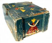 Vintage 50s Childandrsquos Boy Scouts Native American Indian Wood Strong Box Toy Chest