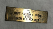 Admiral Hyman Rickover And039father Of The Nuclear Navyand039 Plaque Brass Display Award