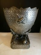 Derby Silver Co Victorian Quadrouple Large Cracked Egg Lizard Insects Vase 10