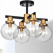 Warehouse Of 4-light Flushmount Ceiling Light With Glass Shades Cm084/4
