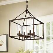 Warehouse Of Antique Bronze 4-light Pendant With Glass Shades Rl8240ab