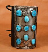 Vintage Sterling Silver 9 Turquoise Stones Navajo Ketoh Bow Guard Black Leather
