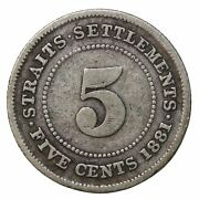 1881 Straits Settlements Silver Five 5 Cents Queen Victoria Birtish Coin Km10