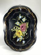 """Vintage Black Metal Tray Toleware Hand Painted Flowers Tole Farmhouse 18""""x13"""""""