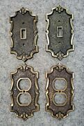 Lot Of 4 Vintage Metal Switch And Outlet Plates Antique Brass Bronze