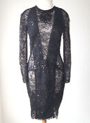 Zuhair Murad Black Lace Sheer Plunging Embroidered Embellished Dress 12