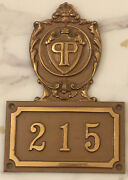 The Plaza Hotel New York City Chunky Brass Hotel Door Room No. 215 Sign Plaque