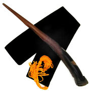 11 3/4 Snatcher Hand Carved Almond Wood Magic Wand Wizard Wiccan W/ Velvet Bag